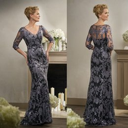 $enCountryForm.capitalKeyWord Canada - Elegant Lace Mother Of Bride Dresses With Sleeve V Neck Sheath Wedding Mothers Groom Dress Floor Length Sequins Formal Wear