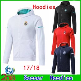 Barato Novo Estilo Hoodies Para Homens-New Style 2017 2018 Real Madrid Hoodies de futebol para adultos 17 18 Ajax Football Tops Coat Man Milan Sportswear futbol Hot Sell