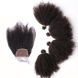 Brazilian Hair Afro Kinky Curly UK - Brazilian Human Hair Weave Afro Kinky Curly Hair With Closure 4X4 Free Middle Three Part Lace Closure With Bundles Natural Color Hair