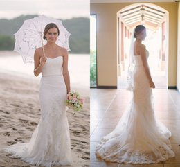 cheap strapless trumpet wedding dresses UK - Hot Cheap Plus Size 2017 Lace Beach Wedding Dresses For Summer Mermaid Strapless Bridal Gowns Vestidos De Noiva Dress for Bride
