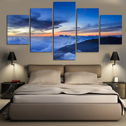 $enCountryForm.capitalKeyWord Canada - 5 Pcs Landscape Oil Paintings On Canvas Wall Art Beautiful Scenery Blue Sky Pictures For Living Room Home Decor