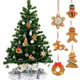 Hand Made Ornament Canada - 6 PCS Cute Hanging Christmas Tree Ornament Cartoon Animal Biscuits Like Hand Made Polymer Clay Christmas Decorations E5M1 order<$18no track