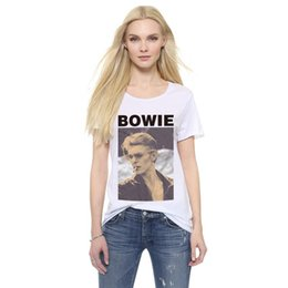T-shirts Pas Cher-Vente en gros- YEMUSEED H915 New Design Summer Couple Tees Funny Women T-Shirts Bowie Men's Smoking Printed Graphic Tees Plus Size