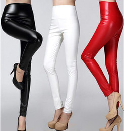 Wholesale Faux Leather Pants Canada - Newest Women PU Faux Leather Slim Pants High Waist Leggings Pants Fleece Stretch Skinny Pencil Capris candy colors lady clothing xmas gift