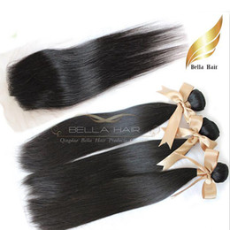 3pc brazilian remy hair online shopping - Full Head Hair Weaves With Closures Brazilian Hair Wefts Extensions PC PC Lace Closure Remy Virgin Human Hair Straight A Bellahair