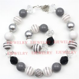 Rope Necklaces For Kids Canada - fashion jewelry white gray stripe acrylic beads silver rhinestone beads chunky girl bubblegum kids Necklace&bracelet set for party gift