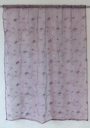 curtain sequin Canada - Charming Purple Heart-shaped Sequins Embroidery Sheer Curtains