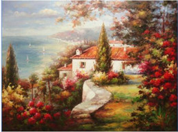 Oil Painting Hd Art Prints Canvas NZ - Mediterranean Seascape Houses Along Shore by Sea Hand-painted  HD Print Landscape Art oil painting On Canvas,Multi sizes Free Shipping Ls050