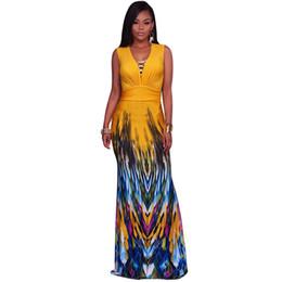 663bf7cae0 Summer Boho African Maxi Dress Vintage Print Evening Party Long Elegant  Dress Vestido Deep V-neck Sleeveless Women Beach Dresses