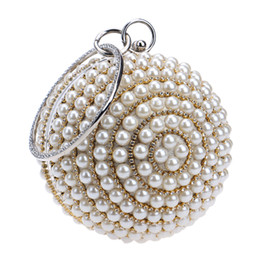 China Wholesale-Women's Pearl Beaded Evening Bags Factory Selling Pearl Beads Clutch Bags Handmake Wedding Bags Beige, Black Quality Assurance cheap black gold silver clutch bag suppliers