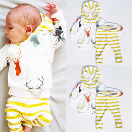 Baby Girl Summer Suits Australia - Newborn Baby Boy Girl suits thick hoodies+yellow striped pants Cute Deer Tops T shirt+Trousers Outift children boys girls Set Cotton Clothes