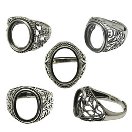 sterling silver antique rings Canada - Beadsnice Thailand Silver Rings DIY Ring Setting Antique Style Filigree Ring Base for Oval Stones Sterling Silver Rings wholesale ID 34080