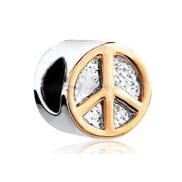 Wholesale symbols gold resale online - 10pcs per Gold plating peace symbol European Beads Fit Pandora Chamilia Biagi Charm Bracelet