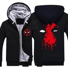 winter warm hoodie zip up UK - Mens Casual 2016 Movie Deadpool Hoodies Zip up Thick Winter Super Warm Cotton Sweatshirts Coats Thicken Fleece (US Size)