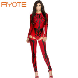 Femmes Sexy À Os Rouge Pas Cher-Vente en gros-FIYOTE Nouveauté Costumes sexy pour les femmes Fantasias Femininas Para Festa LC8948 Clubwear Blanc / Rouge Bad To The Bone Skeleton Costume