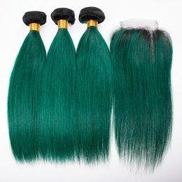 dark green hair weave Australia - Dark Roots 1B Green Hair Weft Extensions With Lace Closure Ombre Color Silky Straight Human Hair Weaves 1B Green 3Bundles With Lace Closure