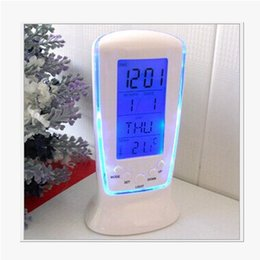 desk calendar thermometers UK - LED Digital Clock LCD Desk Music Alarm Tower Clock+Calendar+Thermometer Digital Thermometer LCD Alarm Clock Calendar Weather Station Clocks