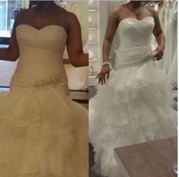 Wedding Dresses Mermaid Elastic Satin Canada - Plus SIze Mermaid Organza Wedding Dresses Ruched Ruffles Layered Garden Bridal Dresses lace Up Crystal Wedding Gowns 2016