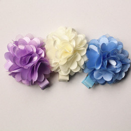 Blue Barrettes Canada - 50pc lot Cute Floral Gauze Hair Clips Lovely Baby Kids Hairpin Chiffon Felt Flower Girls New Arrival Barrettes Free Shipping