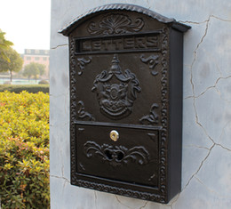 Lawn Trimmers Canada - Cast Aluminum Mailbox Postbox Embossed Trim Metal Mail Post Letters Box for Yard Patio Lawn Garden Outdoor Decoration Wall Mounted Vintage
