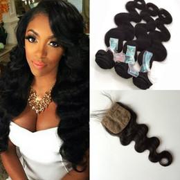 $enCountryForm.capitalKeyWord Canada - cheap 3 bundles body wave virgin hair with 1 pcs silk base closure top quality peruvian hair bundle deals human hair weave