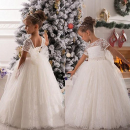 Barato Festa Quente Usa-Hot Venda Vintage Princess Flower Girl Vestidos A Linha Sheer Bateau Decote Mangas Curtas Alta Qualidade Lace Girls 'Wedding Party Wear Bow