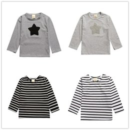 ffb40c0392 Stripe Embroidered Children Long Sleeve T Shirt Star Kid Clothes 2016  Autumn New Cotton T-shirt Boys Tops Girls Tees Classic Black White