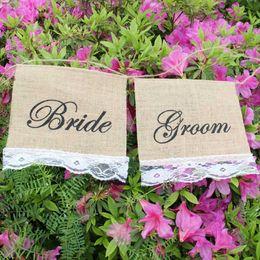 Burlap Chairs Canada - Bride & Groom Hessian Chair Banner Rustic Wedding Banner Burlap Lace