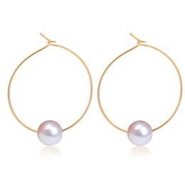 China Wholesale- Simple Simulated Pearl Round Circle Hoop Earrings For Women Gold Silver Plated Loop Earring Female Ear Jewelry Accessories cheap copper loop earrings suppliers