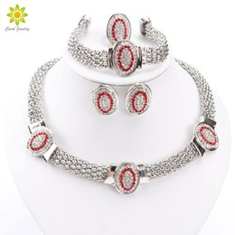 $enCountryForm.capitalKeyWord NZ - Oval Shape Silver Plated Crystal Jewelry Set Fashion Wedding Bridal African Costume Jewelry Sets For Women