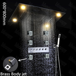 Factory Supply LED Remote Control 600*800mm Shower Head Set With Body Jet  ,bathroom Message Shower Mixer Set
