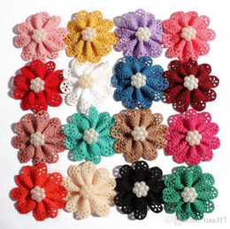 $enCountryForm.capitalKeyWord UK - Mini hollow out pearl flower alloy pearl headdress flower Baby girl hair ribbon accessories shoes flowers 16 colors 1585