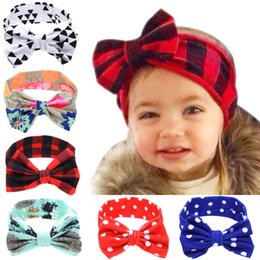 7b20cab89b3 Infant DIY Headband Girls Plaid Dots triangle print Rabbit Ears Hairband  6styles Baby Turban with Bow Head Wrap Hair Accessories