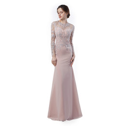Chinese  Elegant Evening Gown Vestidos Longos Para Formatura 2019 Long Sleeve Prom Dresses Mermaid Cheap Long Party Gowns manufacturers