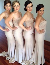 Discount zipper back satin wedding dresses - Mermaid Long Bridesmaid Dresses with Beads 2016 Sweetheart with Pearls Sexy Back Long Maid of Honor Formal Wedding Party