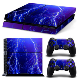 Ps4 Blue Canada - Blue Lightning PS4 Designer Skin Decal for PlayStation 4 Console and Wireless Dualshock 4 Controller-1101