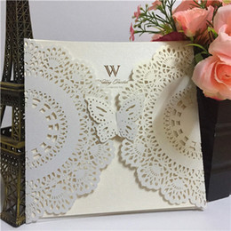 Chinese  HOT Elegant Butterfly Style Ivory Laser Cut Lace Flower Pattern Customizable Printable Wedding Invitations Cards Shipping by UPS manufacturers