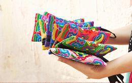 Wholesale Wrist Zipper Wallet Australia - National Style Women Clutch Bag Mini Mobile Phone Bag Wallet Color Embroidery Handbag Wrist Strap 8 Colors 20Pcs Lot
