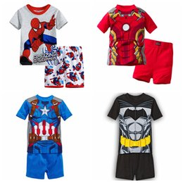 Boy wearing pajamas online shopping - New arrived Childrens clothing boy girl child cartoon short sleeve set summer lounge children Pajamas set baby set sleeping wear