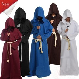 medieval cosplay men Australia - Halloween Cosplay Medieval Friar Costume Vintage Renaissance Priest Monk Cowl Robes Cosplay Outfits with Cross Necklace for Adult Men Gifts