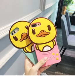 Silicone Duck Iphone Cases Canada - 3D Cartoon Silicone Cute Lovely Duck Protective Case for iphone 6 6s plus 7 7plus Cases Mobile Phone Shell
