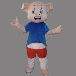Barato Traje De Filme Adulto-Alta qualidade Blue Vest Porco Mascote Costume Animal Porco Cartoon Costumes Movie Role Vestuário Adulto Tamanho Para o Partido Vestido de fantasia frete grátis