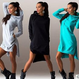 Robes En Jersey Pour Femme Pas Cher-2016 New Women Sweatshirts Irregular à manches longues Sweat Hoodie Robe O-Neck Long Hoodies Pullover Fashion Split Pencil Jupe