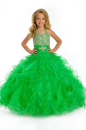 Angels pAgeAnt dress online shopping - Halter long ball gown with heavily beaded torso and ruffled skirt flower girl dresses girl pageant Party Time Perfect Angels
