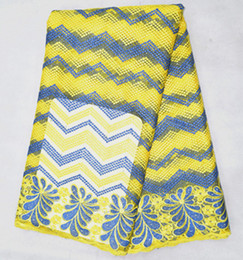 Lace yds online shopping - 5 Yds Fashionable yellow and blue mesh lace embroidery french net lace fabric for clothing BN29