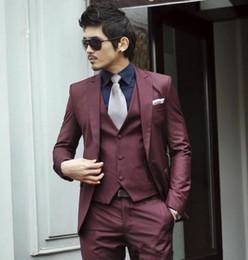 $enCountryForm.capitalKeyWord UK - wholesale handsome Top Popular Korea Slim Fit Wine Red Grey Black Groom Tuxedos Best Men Wedding Suits ( Jacket+Pants+Vest)