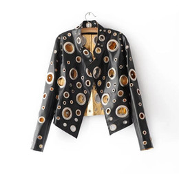 Wholesale Black Rivet Leather Jacket Women Gold PU Coat Women Clothing Short Slim Motorcycle Outerwear Casual Female Jacket