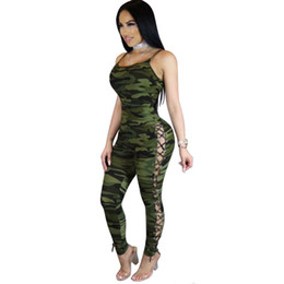 Barato Camuflagem Impressão Atacado-Atacado- Womens Hollow Out V-Neck Camouflage Print Jumpsuit Ladies Sexy Skinny Jumpsuits Evening Night Out Party