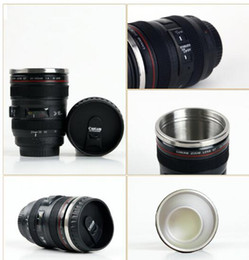 white camera cup NZ - 5 Generation Coffee Mug Camera Lens Stainless Steel Liner Travel Thermal Coffee Camera Lens Mug Cup 400ML Black DHL Free
