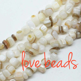 8mm Cube Beads Canada - Irregular Square Natural Creamy White Shell Beads 5mm-8mm Gravel Loose Beads Strand 80cm For wholesale DIY Bracelet(F00341) wholesale